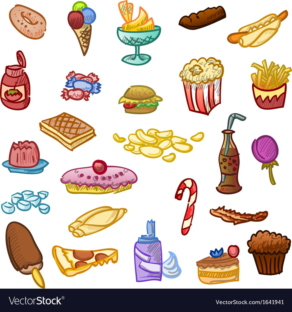 unhealthy food royalty free vector image vectorstock