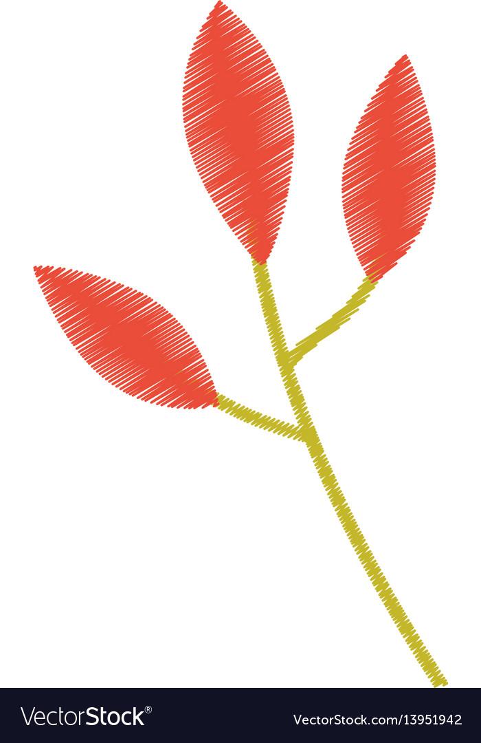 Orange leaves branch image sketch vector image