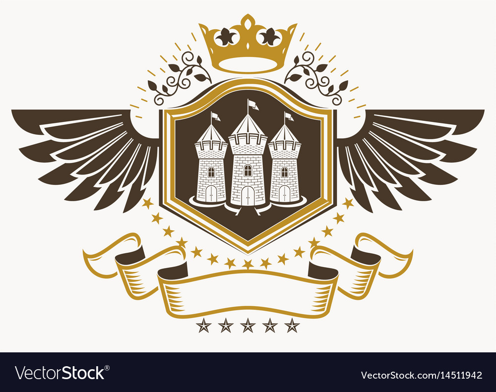 Vintage decorative heraldic emblem composed using vector image