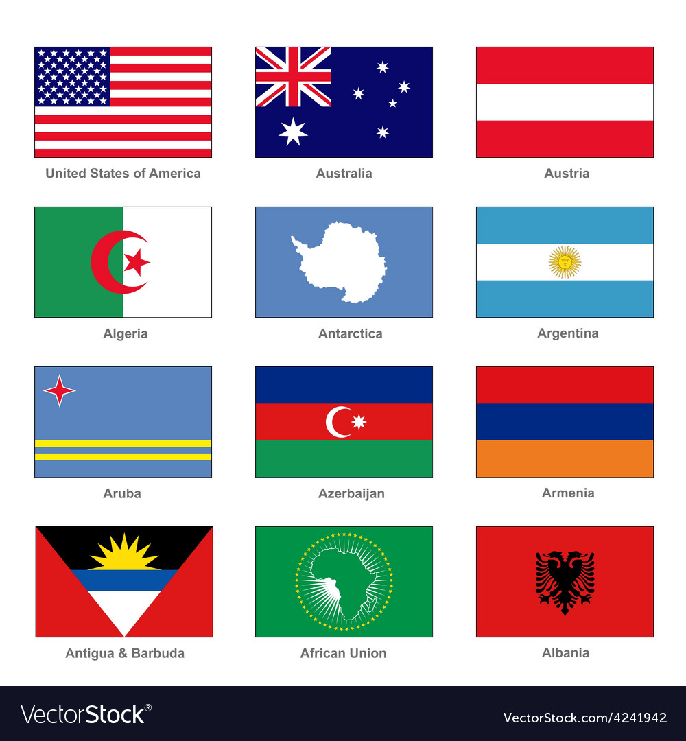 world flags set name country of letter a vector image