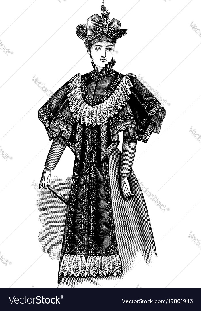 Ladys plaited cape vintage engraving vector image