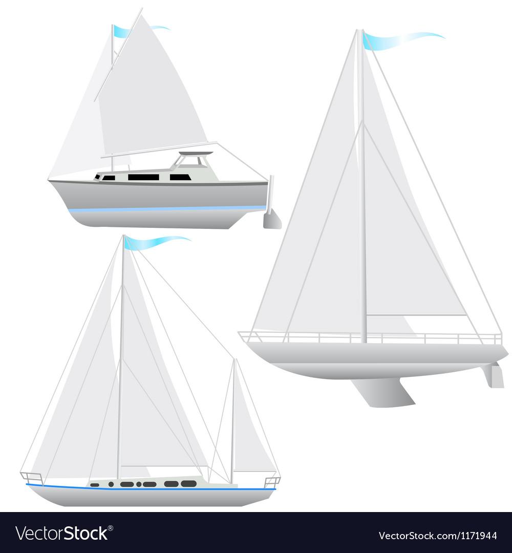 Set sailing boat floating vector image
