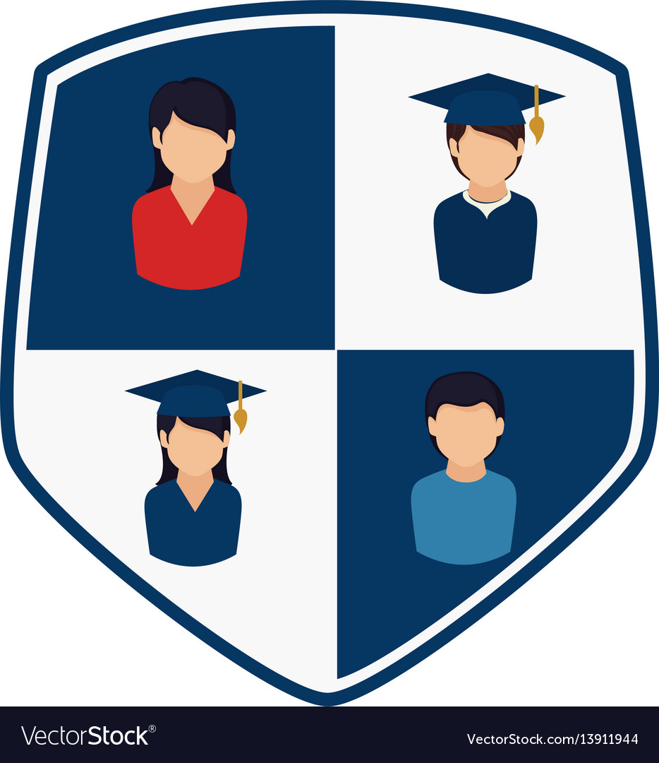 Shield with silhouettes people professional and vector image