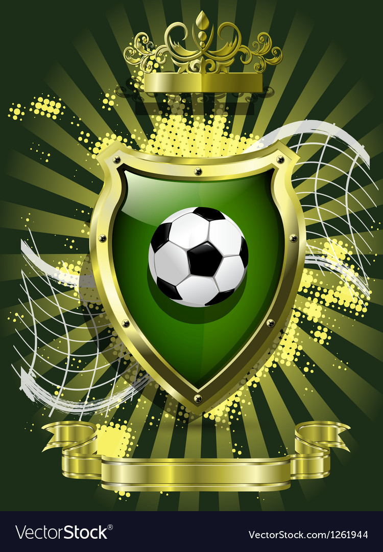 Soccer ball on background of the shield vector image