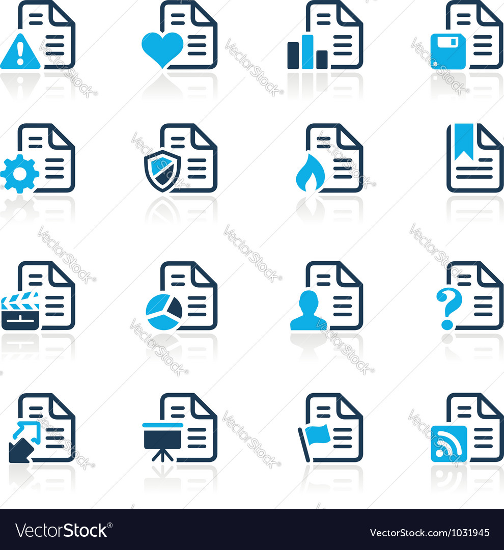 Documents Icons 2 Azure Series vector image