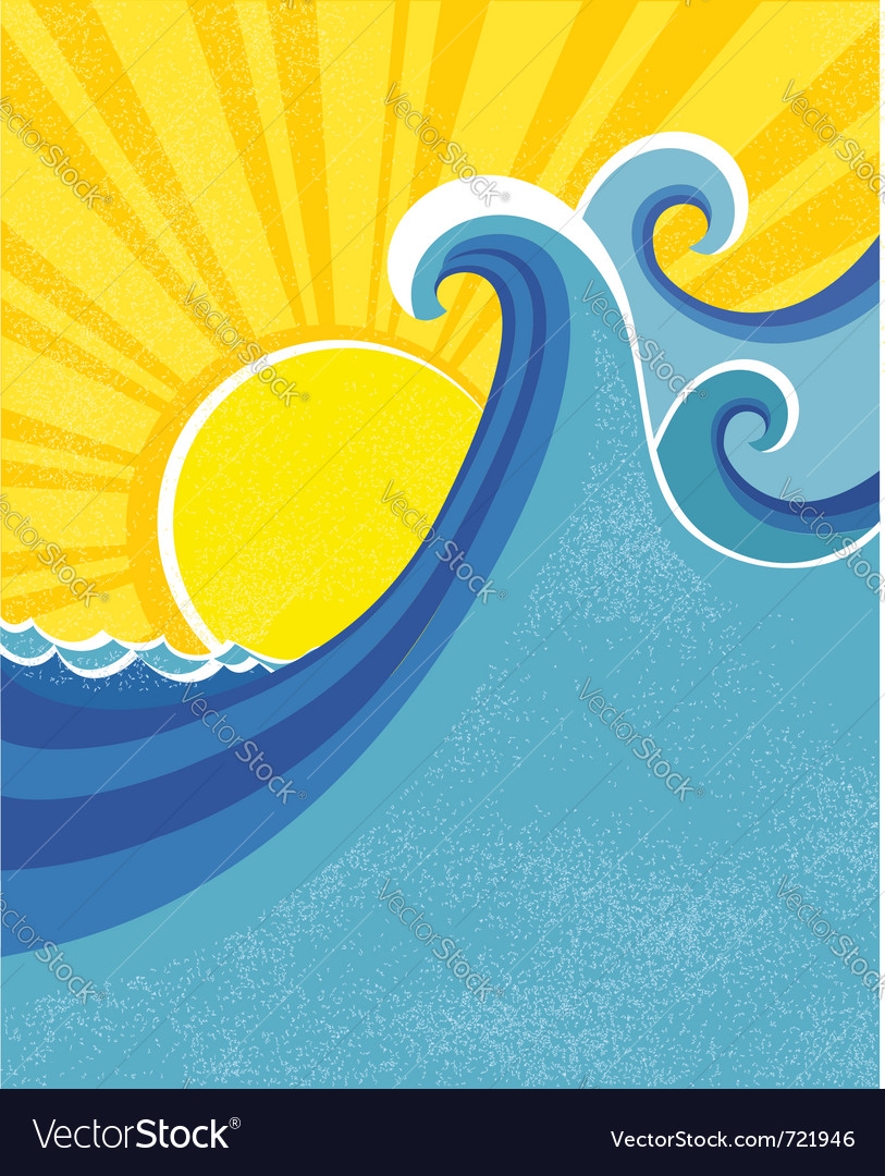 Sea waves poster Vector Image