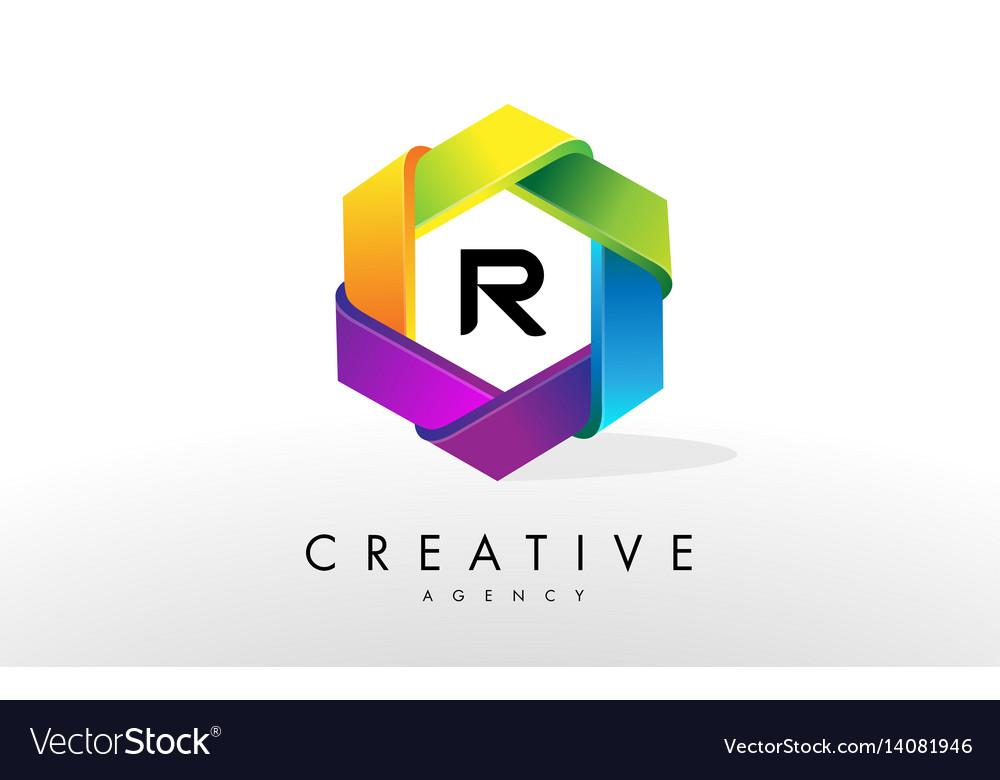 R letter logo corporate hexagon design vector image