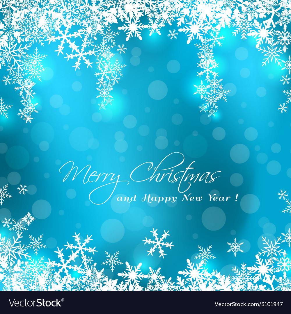 Merry Christmas blue card vector image