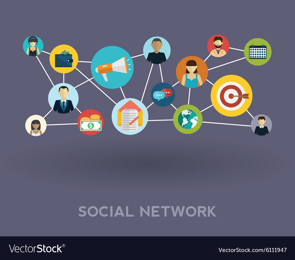 Social media network Growth background with lines vector image
