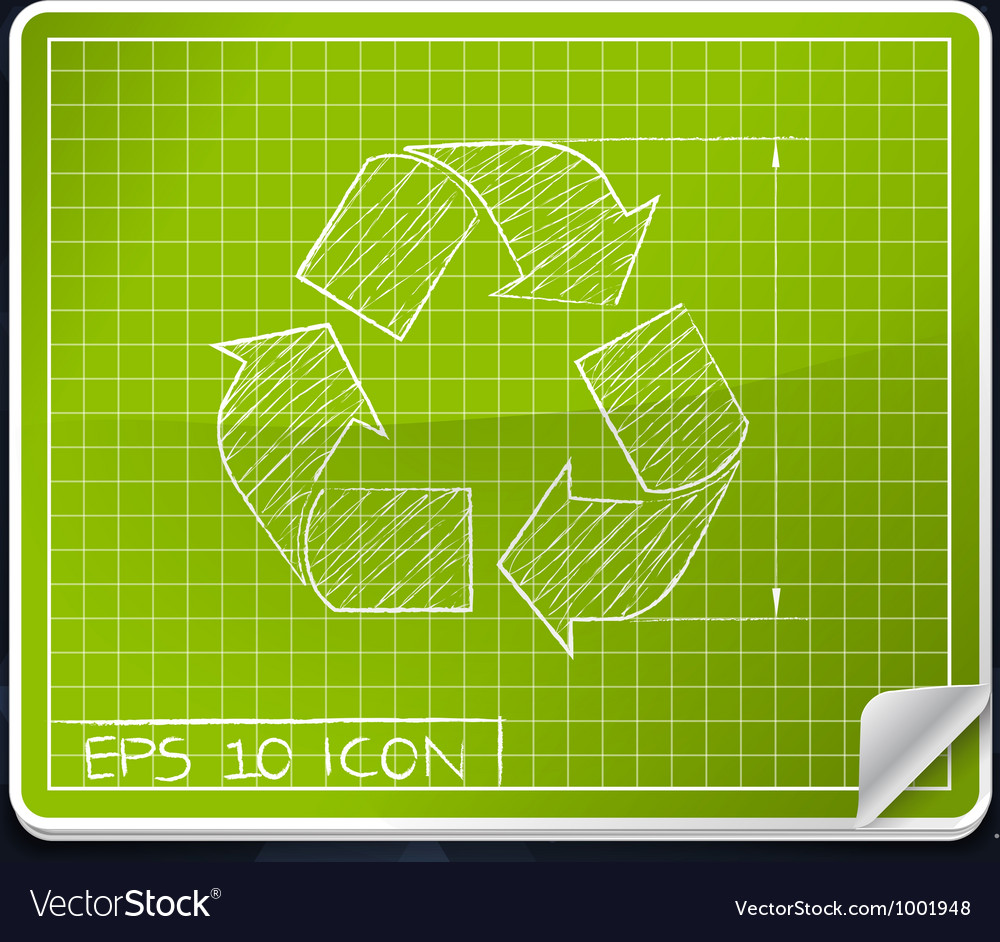 Recycle Symbol Blueprint Icon vector image