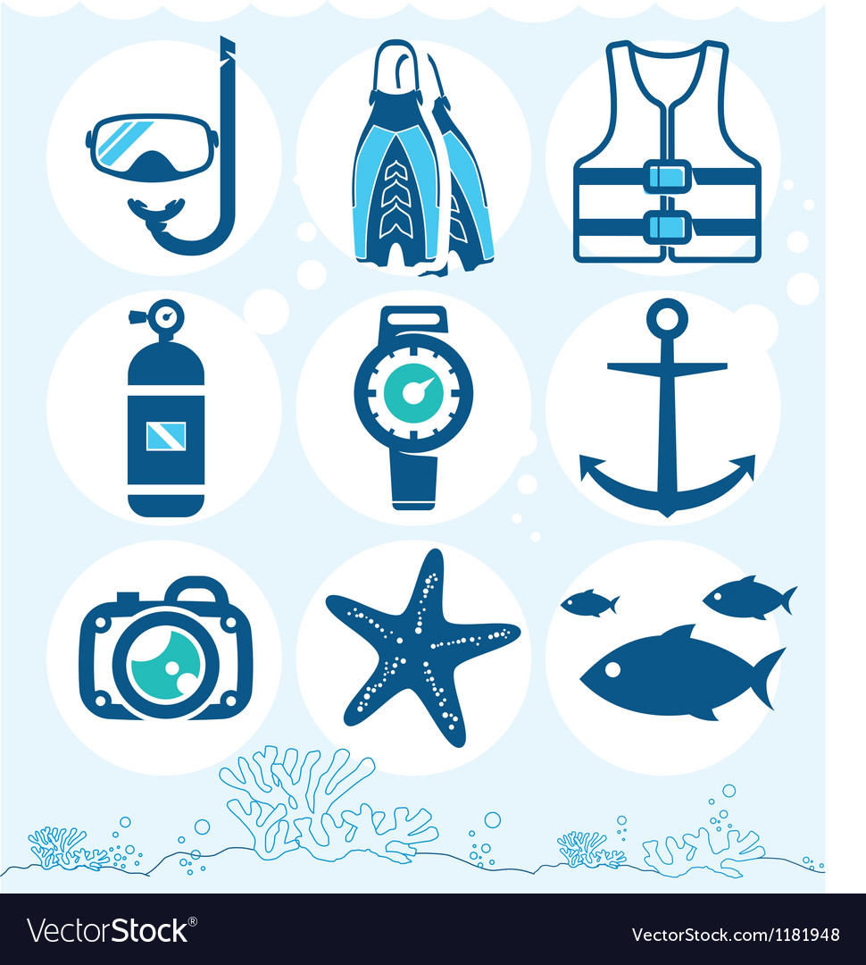 Underwater icons vector image