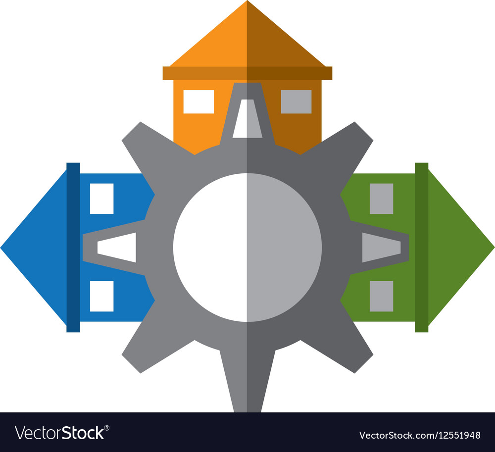Real estate gear symbol shadow vector image