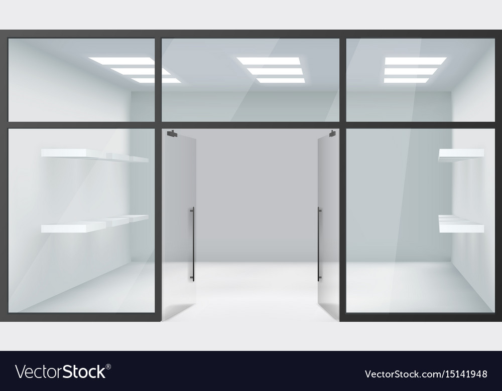 Shop empty interior front store 3d realistic vector image