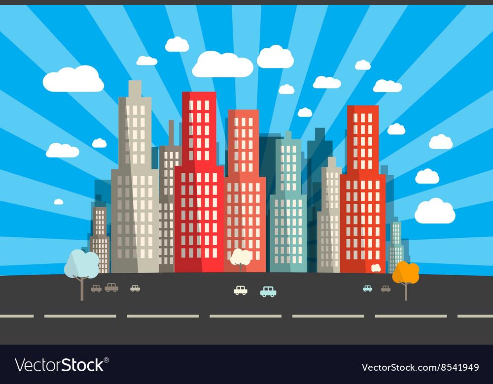 Flat Design City vector image
