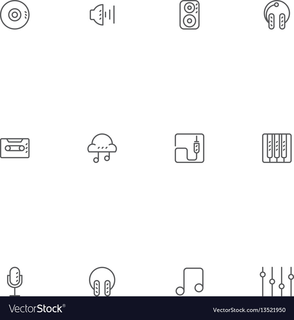 Outline music icons for a studio app and website vector image