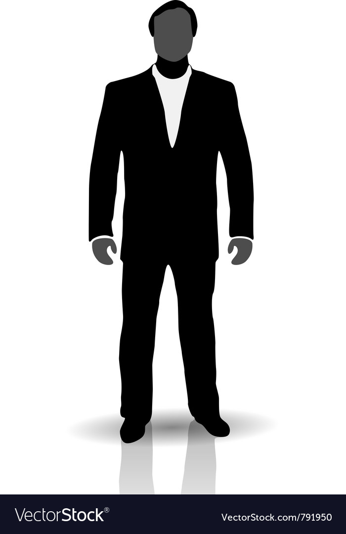 Silhouette of man in suit vector image
