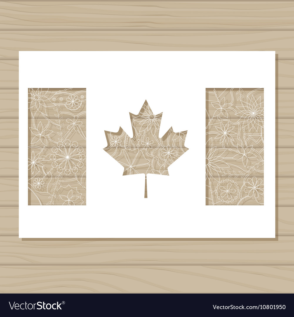 Stencil template of canada flag on wooden vector image