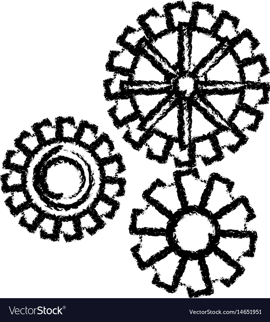 Gear work mechanical cooperation sketch vector image