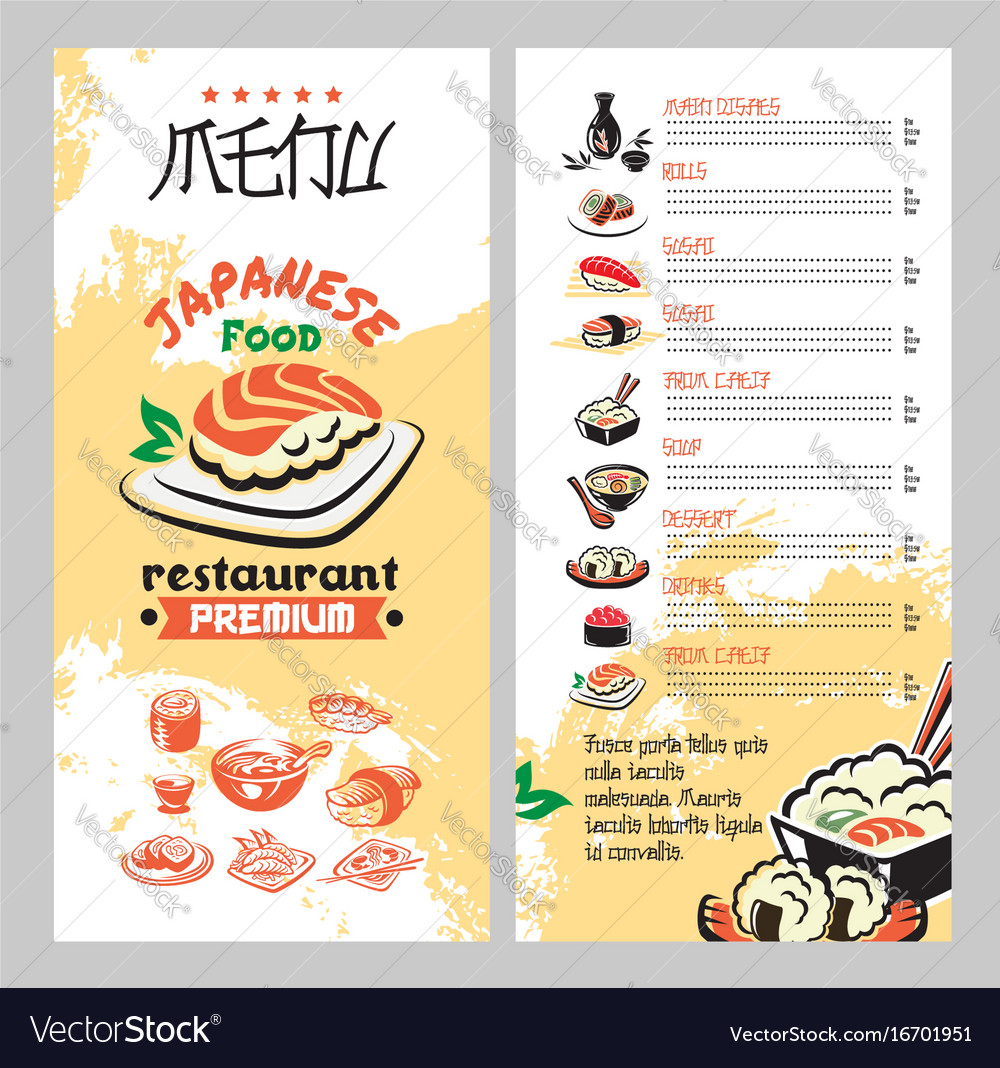 Japanese food for asian cuisine restaurant menu vector image