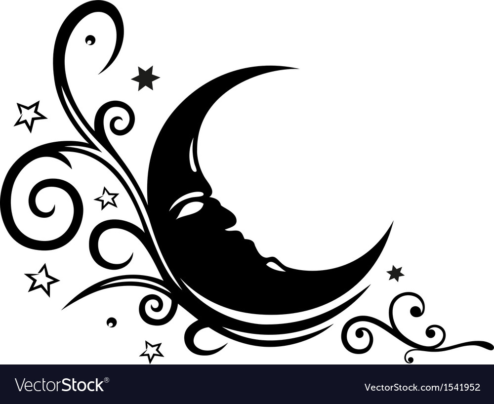 Moon Stars Sleep Dream Royalty Free Vector Image And Clipart Black With Sleeping