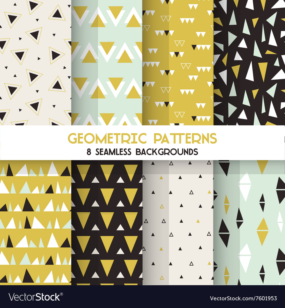 8 Seamless Geometric Triangles Patterns vector image