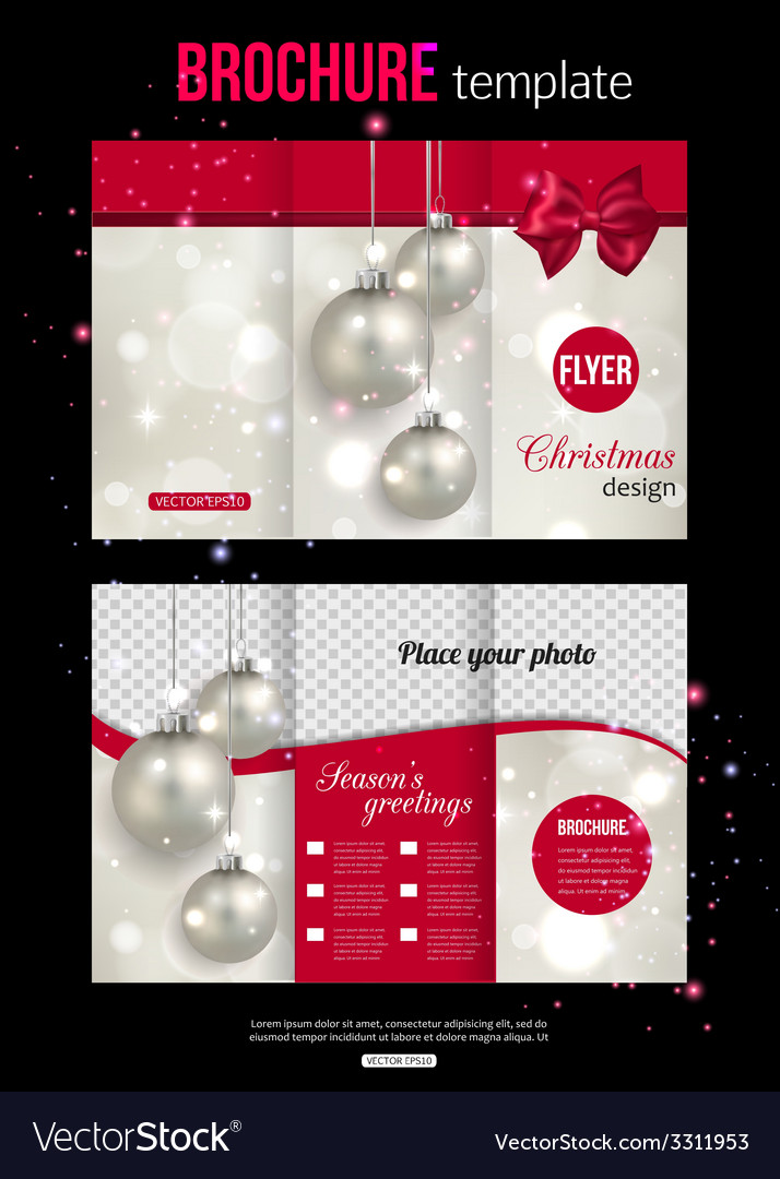 Christmas trifold brochure template abstract flyer for Christmas brochure template