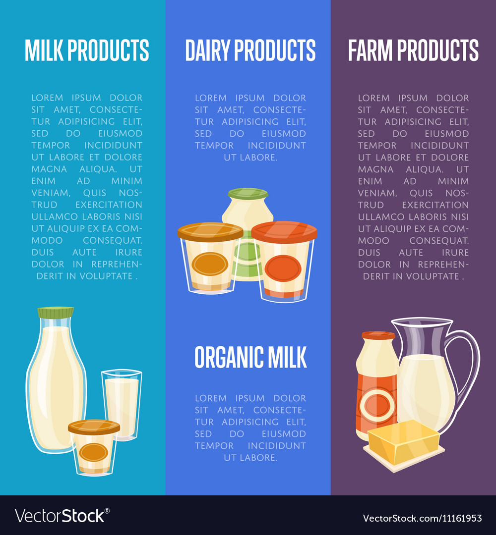 Farm dairy products vertical flyers vector image