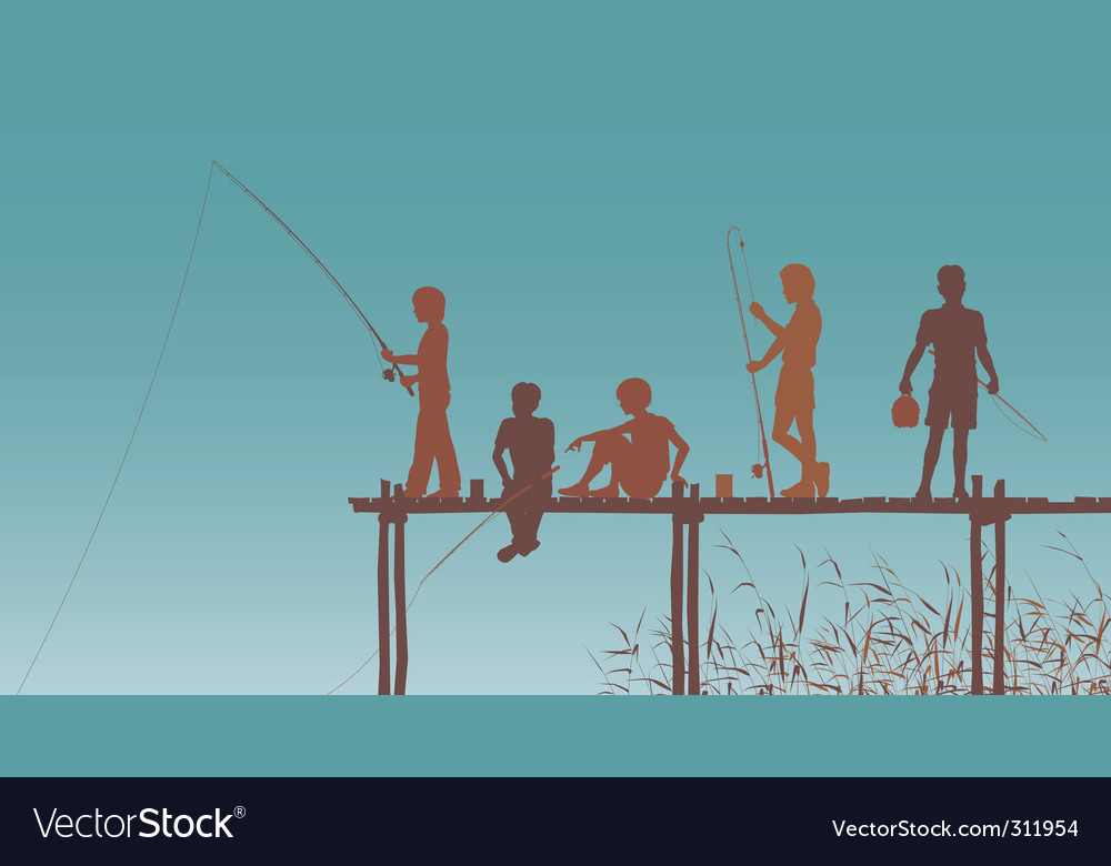 Fishing friends vector image