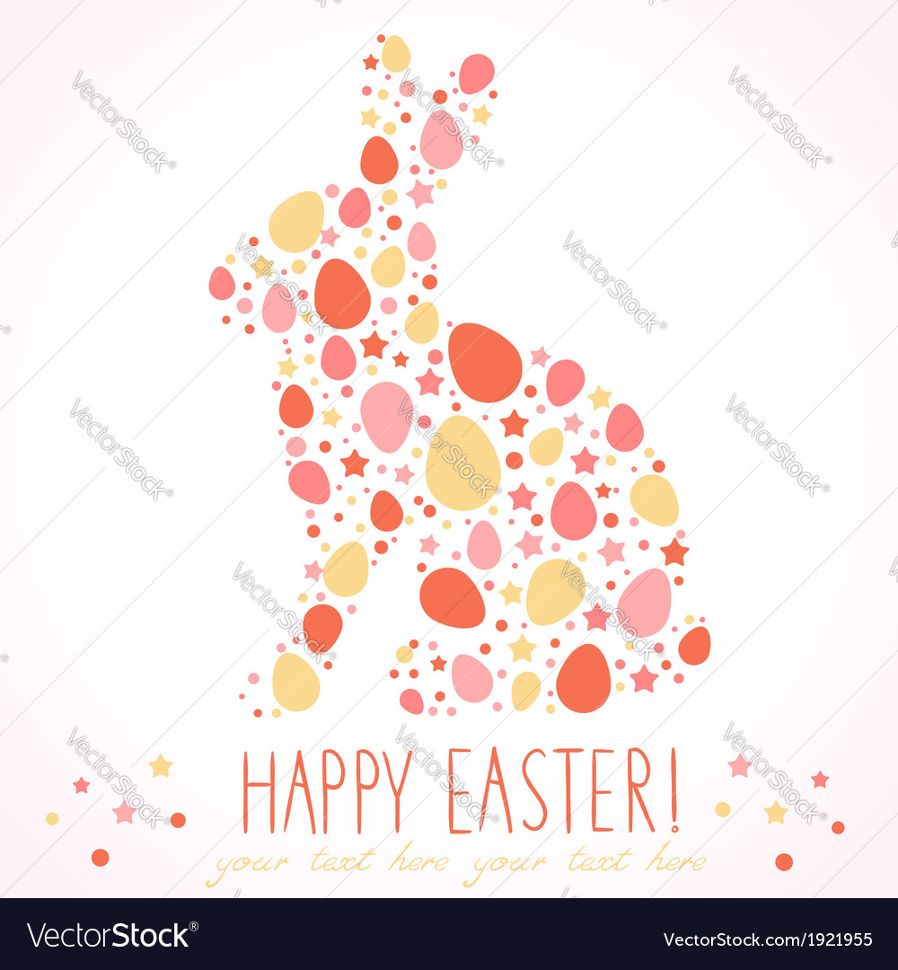 Easter Bunny Silhouette Card Vector Image