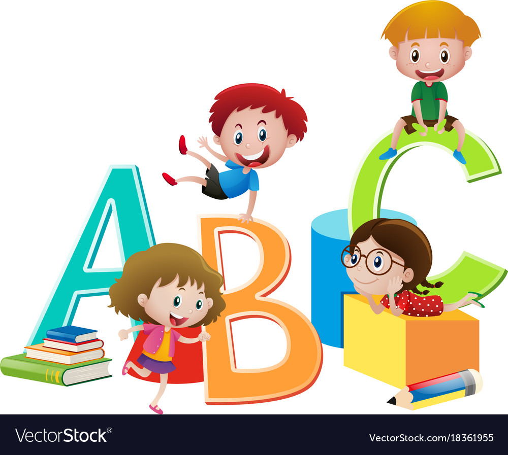 Four children and english alphabets vector image