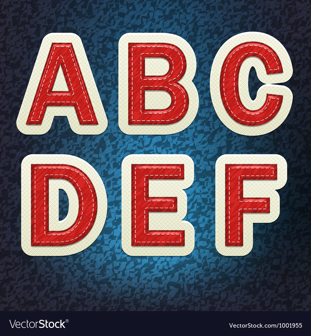 Stitched Fabric Font A-F vector image