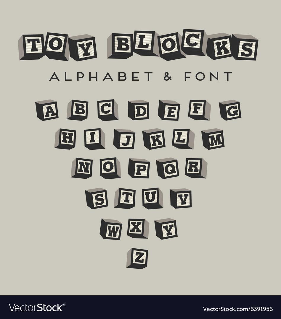 Alphabet blocks baby blocks font vector image