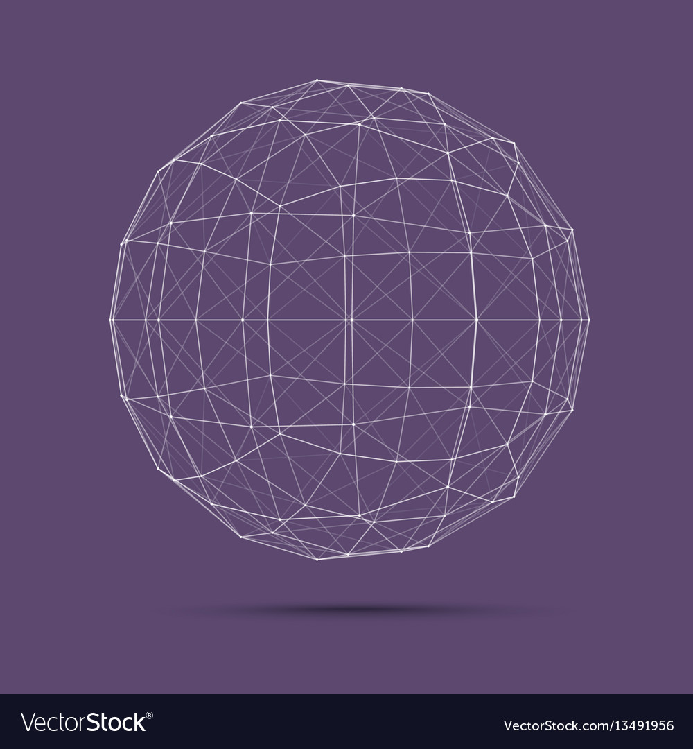 Geometric wire mesh sphere vector image
