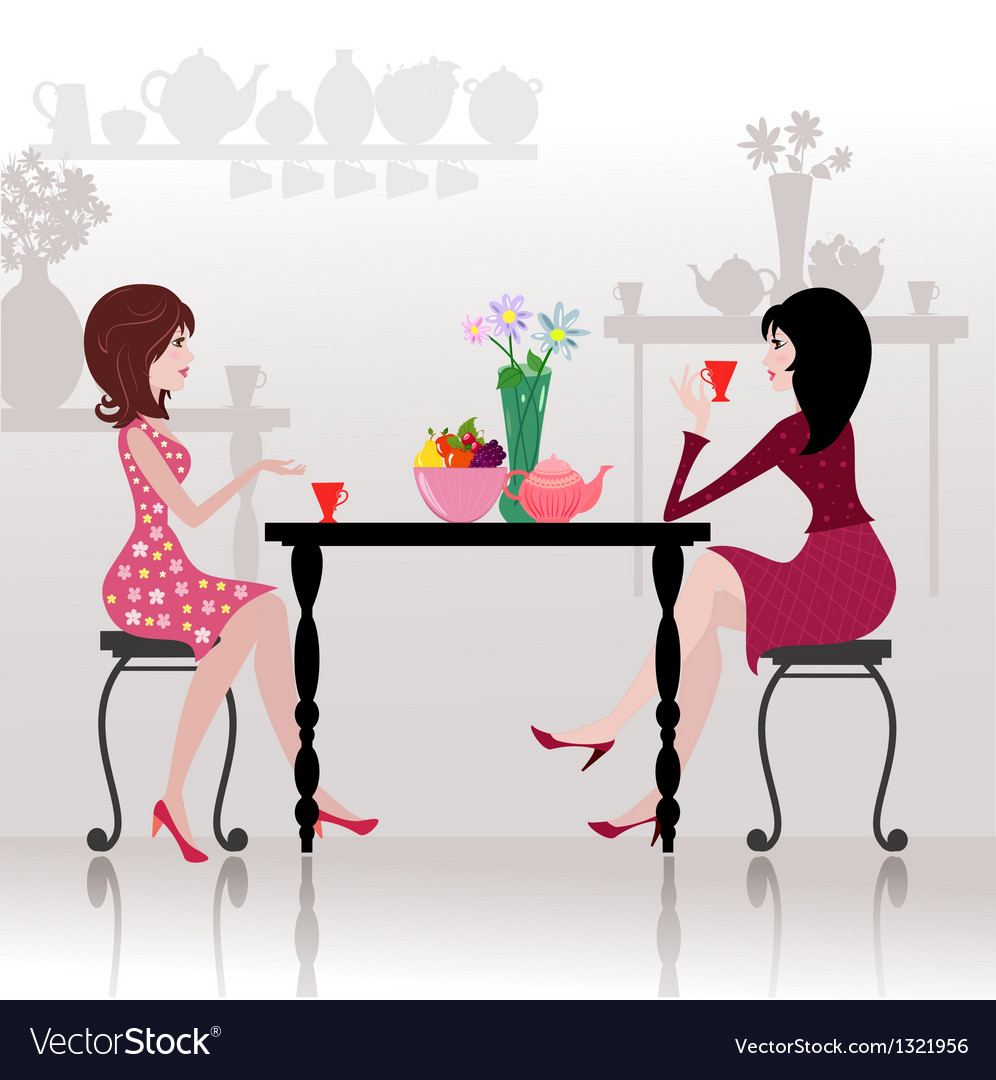 Girls Chatting Cafe vector image