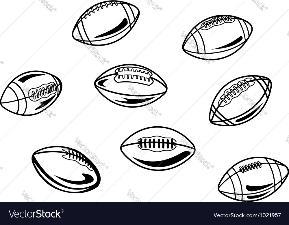 Rugby and american football balls vector image