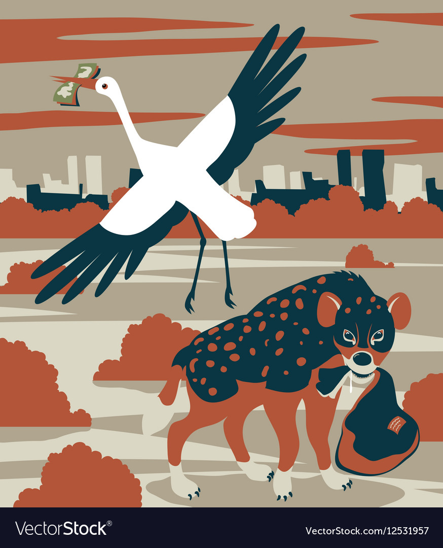 Hyena and stork vector image