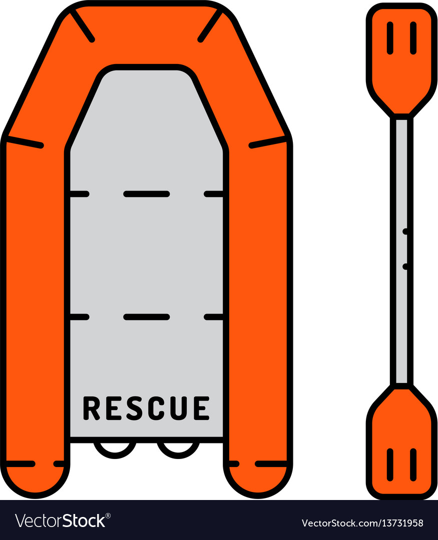 Flat icon life raft vector image