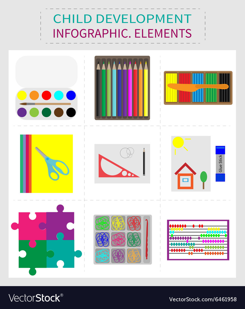 Set of elements for childrens development vector image