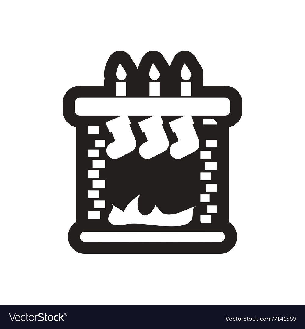 flat icon in black and white christmas fireplace vector image