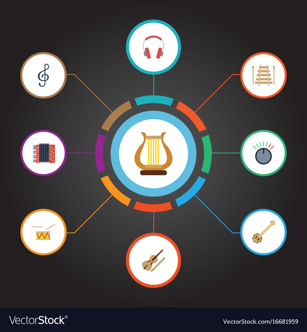 Flat icons knob tambourine banjo and other vector image