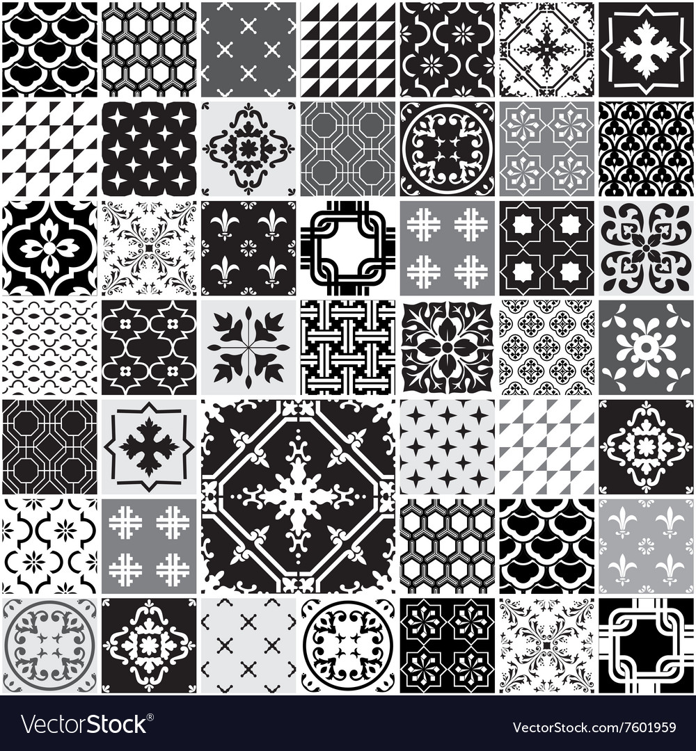Huge Seamless Patchwork Patterns Tiles Royalty Free Vector