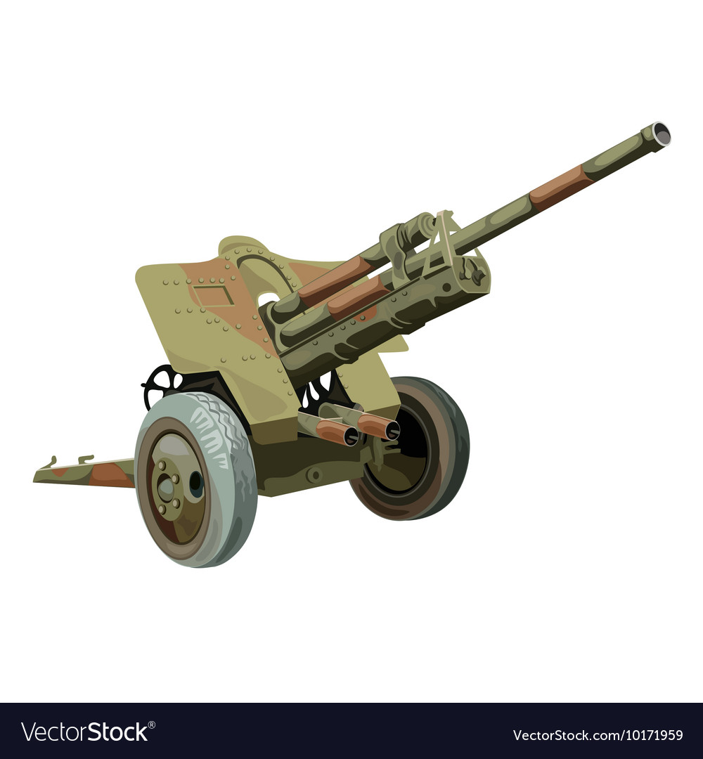 Old military gun on wheels vector image