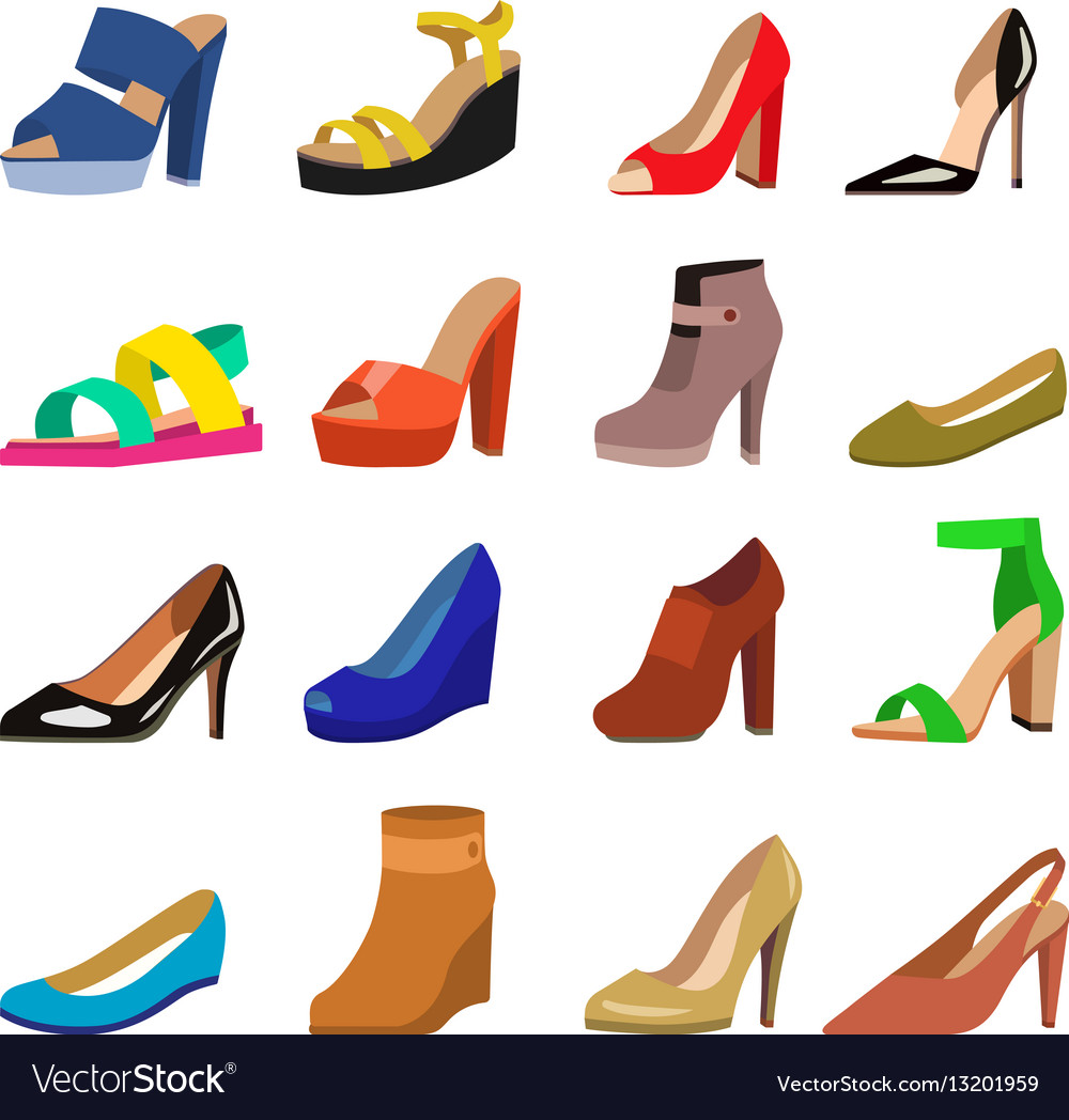 Set of womens shoes flat design vector image