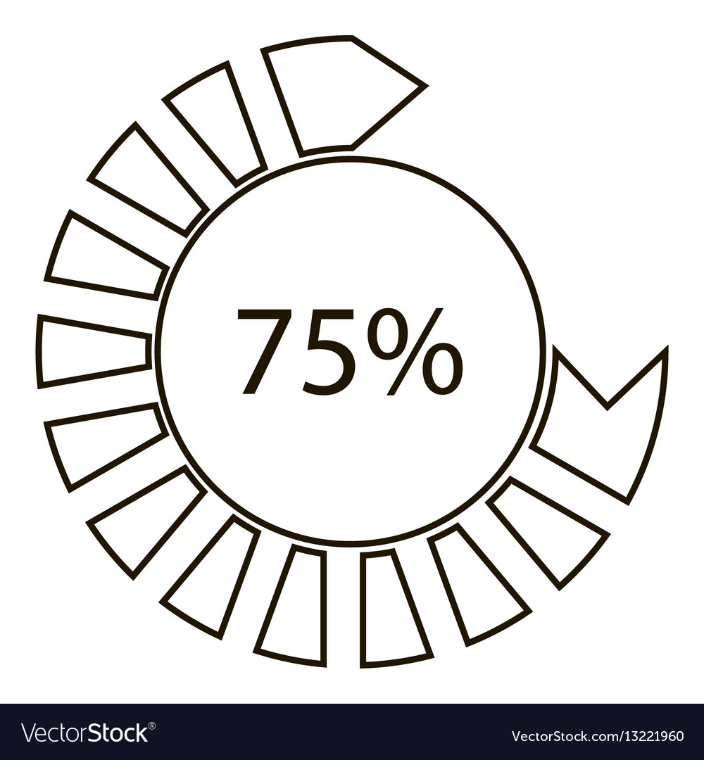 Seventy five percents infographics outline style vector image