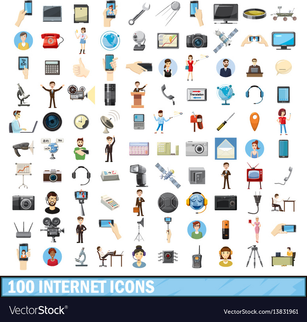 100 internet icons set cartoon style vector image