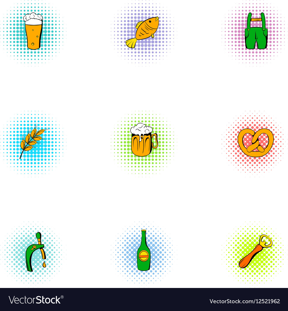 Beer icons set pop-art style vector image