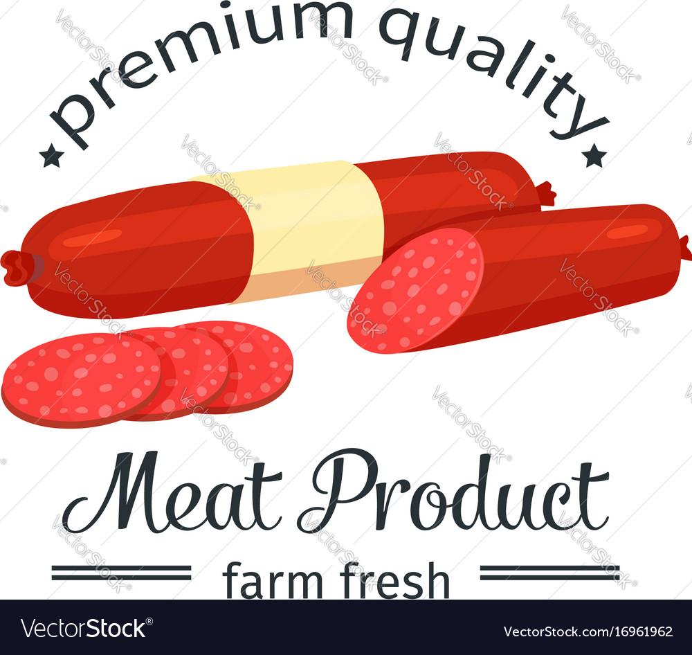 Sausage vintage emblem vector image