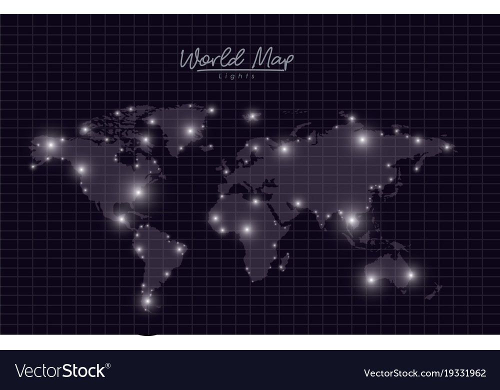 World map lights in black mesh silhouette vector image gumiabroncs Choice Image