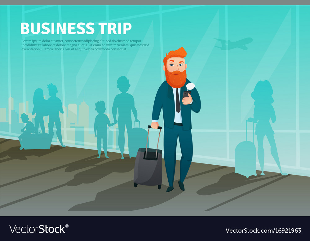 Businessman in airport poster vector image