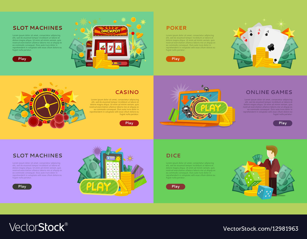 Slot Machines Pocker Online Games Dice Banners vector image